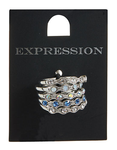 Expression Set of Five Crystal Round Rings-BLUE-8