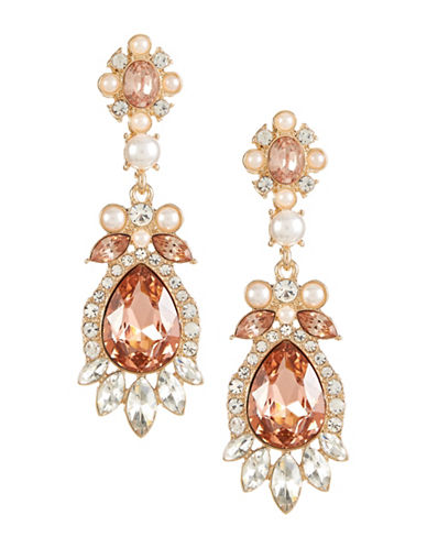 Expression Stone and Pearl Drop Earrings-BEIGE-One Size