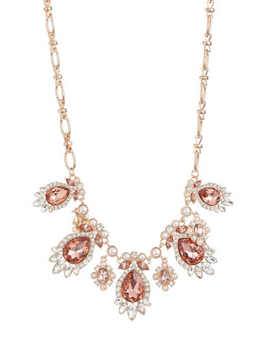 Expression Pavé Crystal Navette Teardrop Statement Necklace-ORANGE-One Size