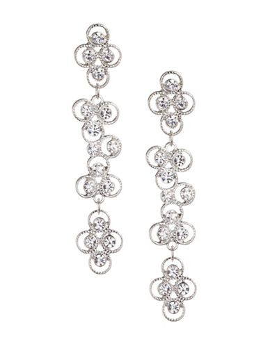 Expression Crystal Small Circle Drop Earrings-SILVER-One Size