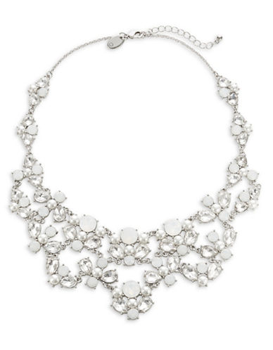 Expression Faceted Crystal Bib Necklace-SILVER-One Size