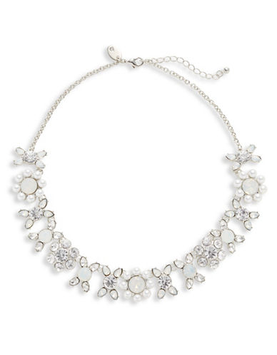 Expression Stone and Faux Pearl Statement Necklace-WHITE-One Size