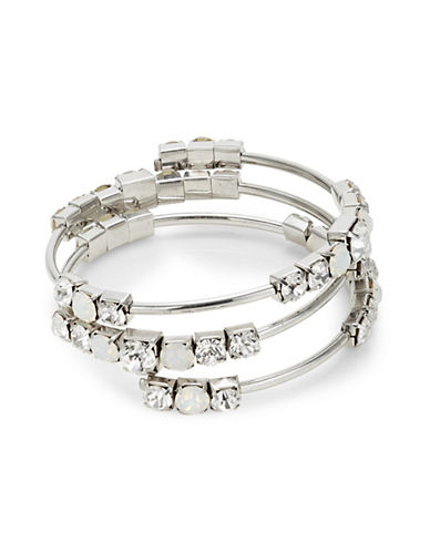 Expression Crystal Three-Row Tube Beaded Bracelet-SILVER-One Size