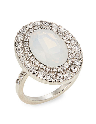 Expression Pavé Crystal Oval Cocktail Ring-SILVER-7