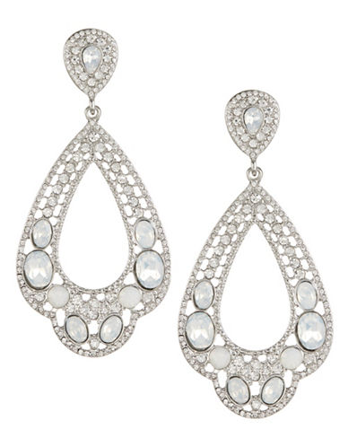 Expression Faceted Crystal Drop Earrings-SILVER-One Size