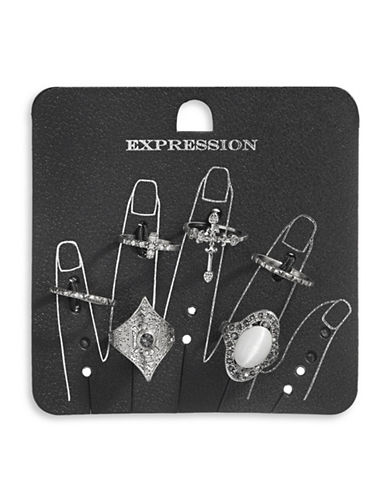 Expression Six-Piece Antique Cat Eye Ring Set-SILVER-9