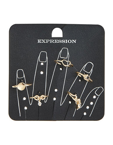 Expression Pack of Five Geometric and Dangly Bead Rings-GOLD-8