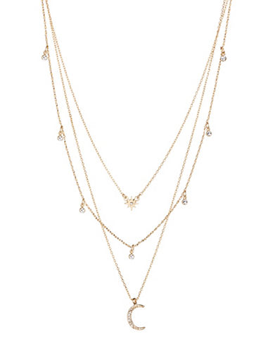 Expression Three Row Moon Necklace-GOLD-One Size