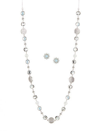 Expression Silvertone Embellished Necklace and Earrings Set-SILVER-One Size