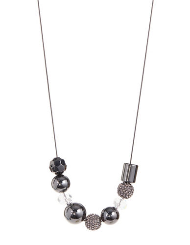 Expression Faceted Pave Beaded Necklace-BLACK-One Size