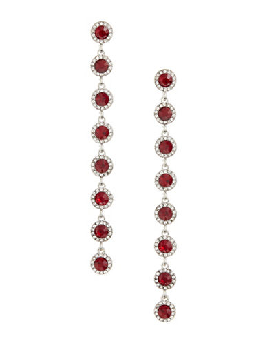 Expression Pave Crystal Drop Earrings-RED-One Size