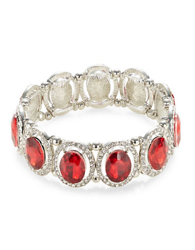 Expression Oval Stone Stretch Bracelet-RED-One Size