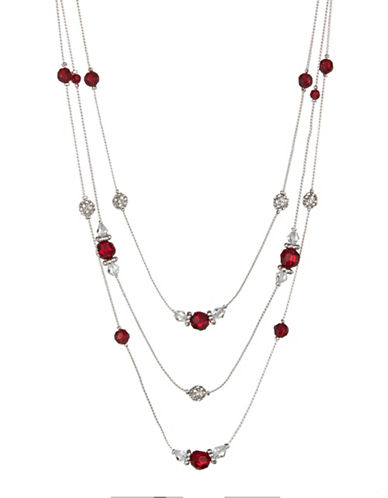 Expression Rhinestone and Pave Ball Necklace-RED-One Size