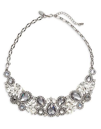 Expression Rhinestone Studded Teardrop Necklace-BLACK-One Size