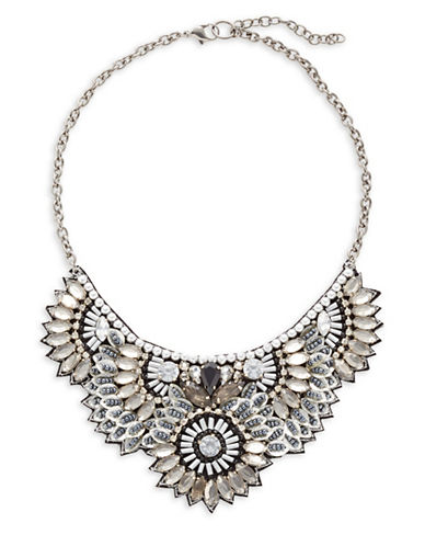 Expression Nevette Crystal and Beads Statement Necklace-GREY-One Size