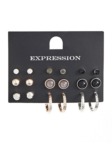 Expression Nine-Pack Earrings Set-BLACK-One Size