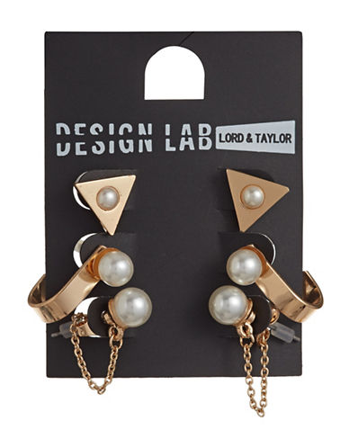 Design Lab Lord & Taylor Three-Pair Goldtone Imitation Pearl Stud Earrings-BEIGE-One Size
