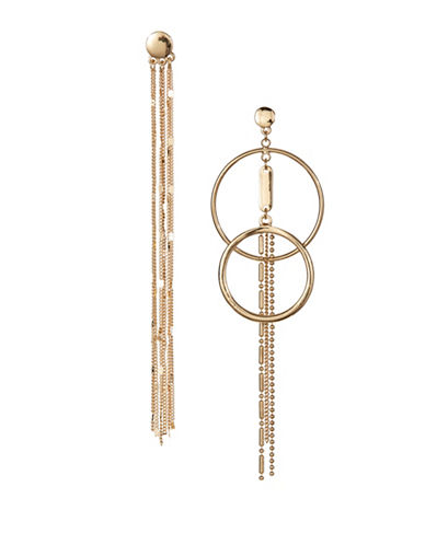 Design Lab Lord & Taylor Chain Tassel and Double Hoop Drop Earrings-GOLD-One Size