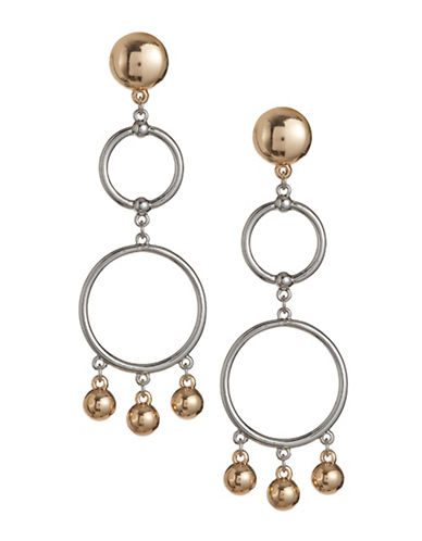 Design Lab Lord & Taylor Silvertone Double Hoop Ball Chain Post Earrings-ASSORTED-One Size