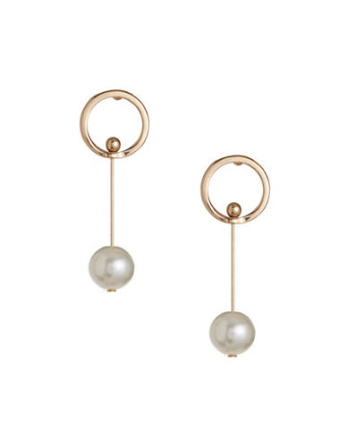 Design Lab Lord & Taylor Goldtone Imitation Pearl Bar Earrings-BEIGE-One Size