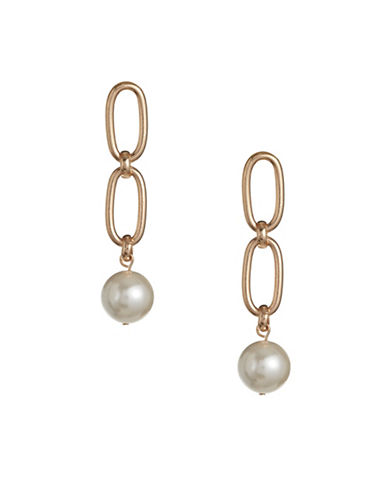 Design Lab Lord & Taylor Imitation Pearl Goldtone Double Drop Earrings-BEIGE-One Size