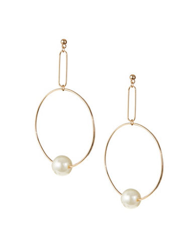 Design Lab Lord & Taylor Goldtone Imitation Pearl Hoop Earrings-BEIGE-One Size
