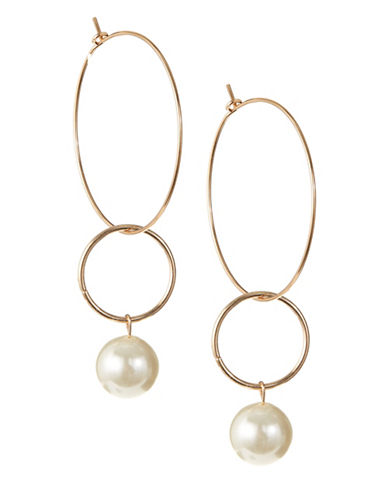 Design Lab Lord & Taylor Dangle Hoop and Imitation Pearl Earrings-BEIGE-One Size
