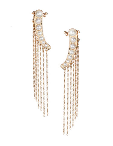 Design Lab Lord & Taylor Goldtone Imitation Pearl Tassel Cuff Post Earrings-GOLD-One Size