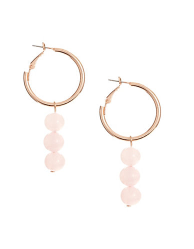 Design Lab Lord & Taylor Three-Stone Hoop Drop Earrings-PINK-One Size