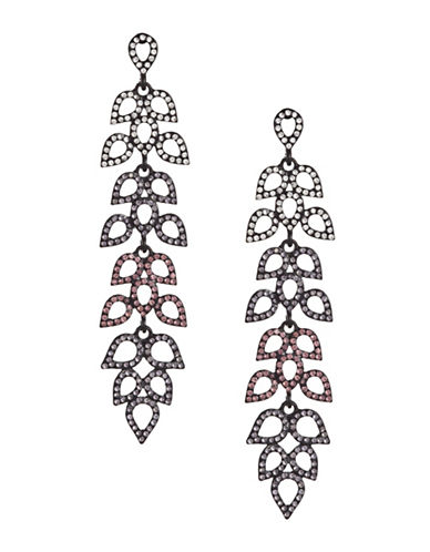 Design Lab Lord & Taylor Black Metal Pave Stones Teardrop Earrings-ASSORTED-One Size