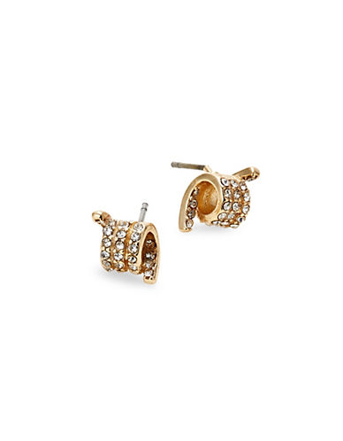 Design Lab Lord & Taylor Pave Crystal Wire Bar Stud Earrings-GOLD-One Size