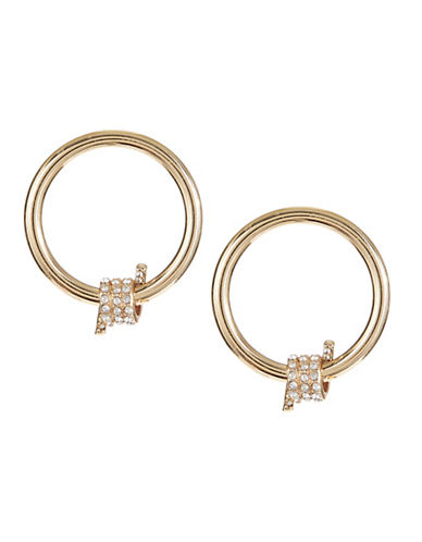 Design Lab Lord & Taylor Pave Crystal Wire Bar on Hoop Stud Earrings-GOLD-One Size