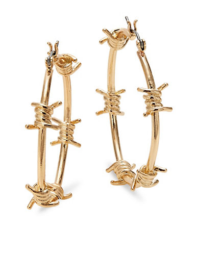 Design Lab Lord & Taylor Barb Wire Hoop Earrings-GOLD-One Size