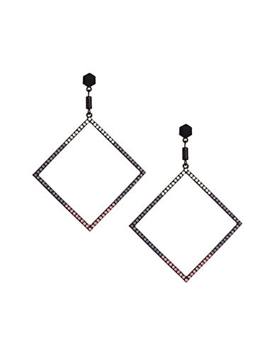 Design Lab Lord & Taylor Pave Stones Black Metal Square Hoop Earrings-ASSORTED-One Size