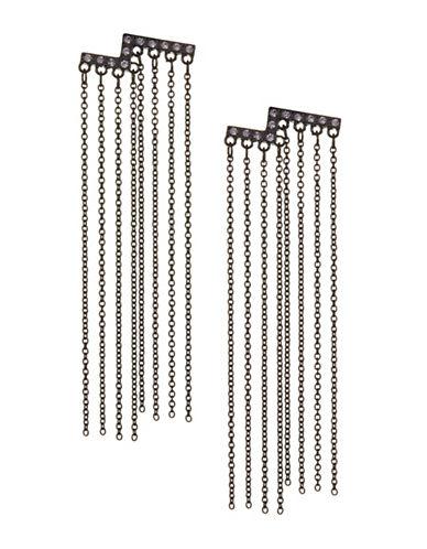 Design Lab Lord & Taylor Pave Stones Black Metal Tassel Earrings-PURPLE-One Size