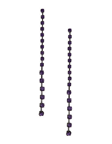 Design Lab Lord & Taylor Pave Stones Black Metal Cup Chain Drop Earrings-PURPLE-One Size