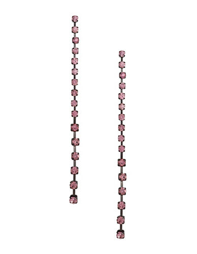 Design Lab Lord & Taylor Pave Stones Black Metal Cup Chain Drop Earrings-PINK-One Size