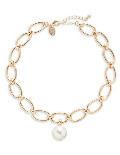 Design Lab Lord & Taylor Faux Pearl Oval Necklace-GOLD-One Size