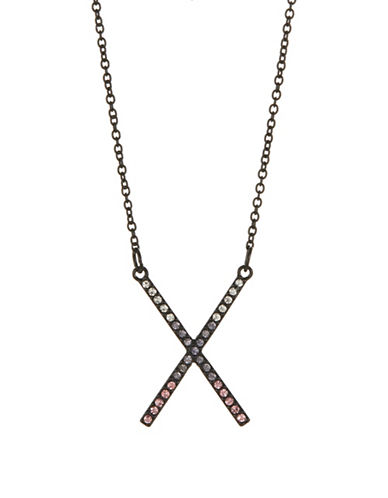 Design Lab Lord & Taylor Pave X Pendant Necklace-ASSORTED-One Size