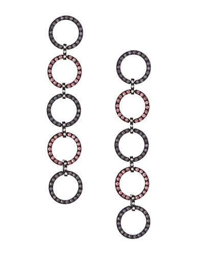 Design Lab Lord & Taylor Pave Stones Five Hoop Drop Earrings-ASSORTED-One Size