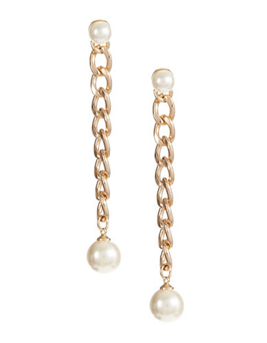 Design Lab Lord & Taylor Faux Pearl Link Drop Earrings-BEIGE-One Size