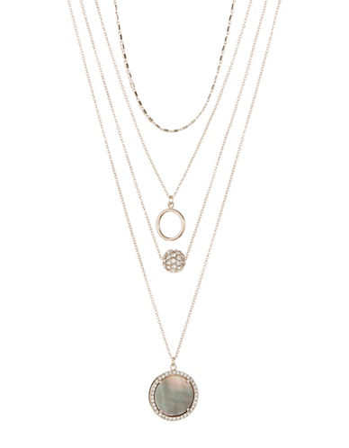 Design Lab Lord & Taylor Four Row Layered Pendant Necklace-ASSORTED-One Size