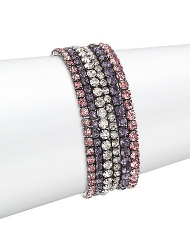 Design Lab Lord & Taylor Six-Cupchain Rhinestone and Black Metal Stretch Wrist Wrap-ASSORTED-One Size