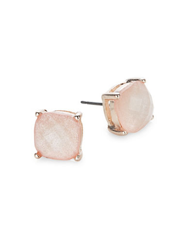Expression Faceted Shimmer Stud Earrings-PINK-One Size