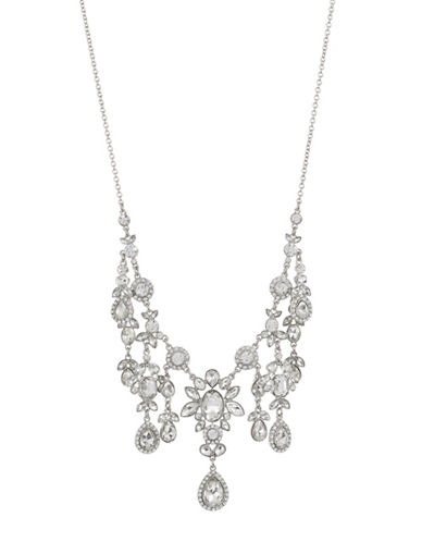 Expression Silvertone Pavé Crystal Dangly Necklace-SILVER-One Size
