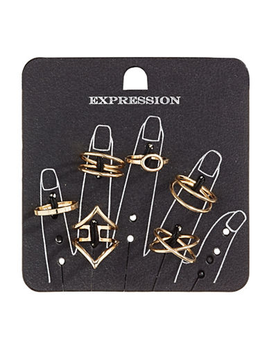 Expression Six-Piece Layered Midi Ring Set-GOLD-8