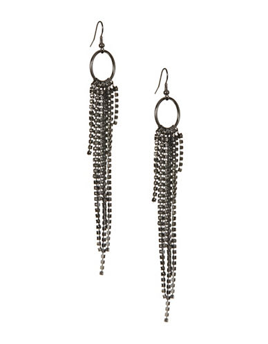 Expression O Ring Rhinestone Earrings-GREY-One Size