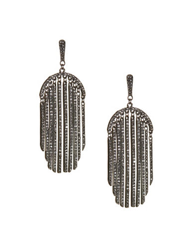Expression Pave Linear Drop Earrings-GREY-One Size