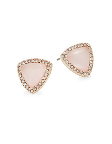 Design Lab Lord & Taylor Rose Gold Stone and Crystal Stud Earrings-PINK-One Size