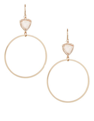 Design Lab Lord & Taylor Rose Gold Drop Hoop Earrings-PINK-One Size